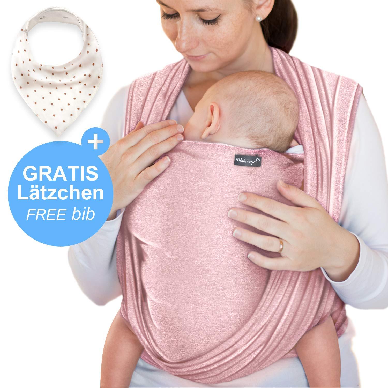 Écharpe de portage rose - porte-bébé de haute qualité pour nouveau-nés et  bébés jusqu à 15 kg - en coton doux - incl. sac de rangement et bavoir bébé  ... 08c72f82c1d