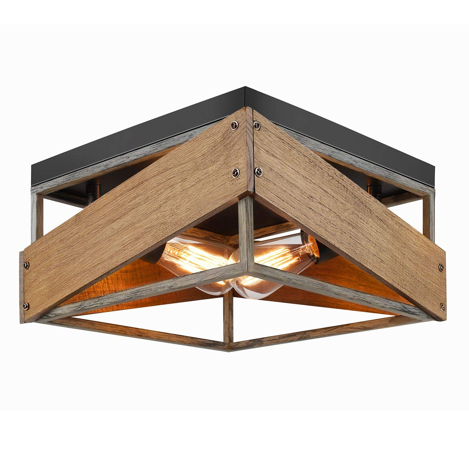 Rustic Flush Mount Ceiling Light Fixture 2-Light Metal and Solid Wood Square