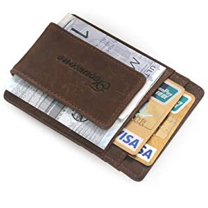 Teemzone RFID Blocage Pinces à billets Porte-Monnaie Homme Cuir véritable Portefeuille Pour poches pantalon ou veste Porte-cartes de crédit aimant
