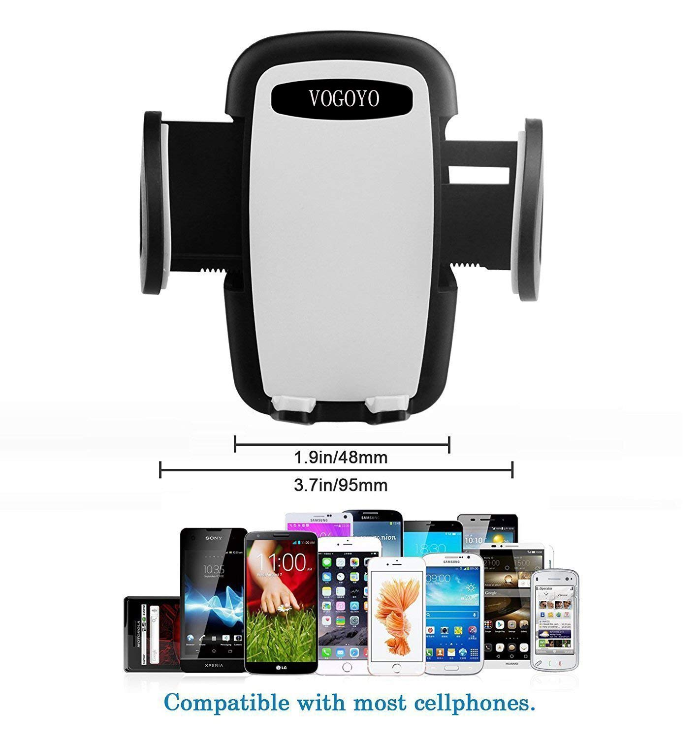 VOGOYO Universal Smartphone Car Air Vent Mount Holder Cradle for iPhone Xs XS Max X 8 8 Plus 7 7 Plus SE 6s 6 Plus 6 5s 5 4s 4 Samsung Galaxy S6 S5 S4 LG Nexus Nokia and More/…