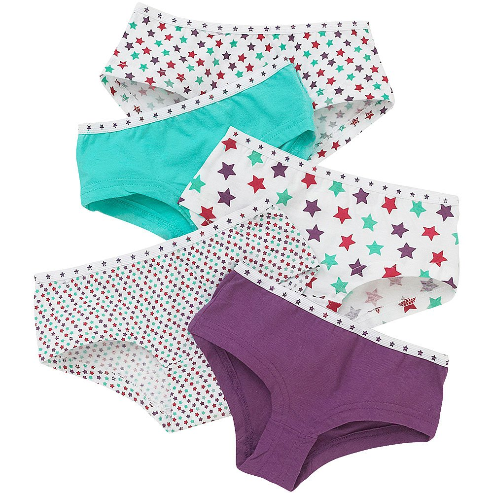 Just Essentials Girls Back To School 5 Pack Cotton Star Print Hipster Briefs