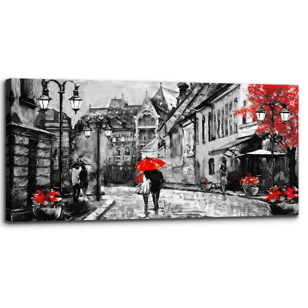 Black and White Buildings and Lovers Holding Umbrellas Under Street Lamps Canvas Art Print Artwork Wall Art for Living Room Bedroom Wall Decor,Modern Home Decor Watercolor Wall Painting Decoration