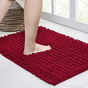 Walensee Large Bathroom Rug Non Slip Bath Mat (47x17 Inch Red) Water Absorbent Super Soft Shaggy Chenille Machine Washable Dry Extra Thick Perfect Absorbant Best Plush Carpet for Shower Floor