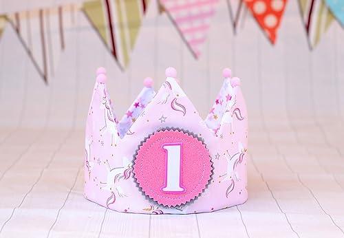 Corona de tela unicornios para cumpleaños niñas: Amazon.es ...