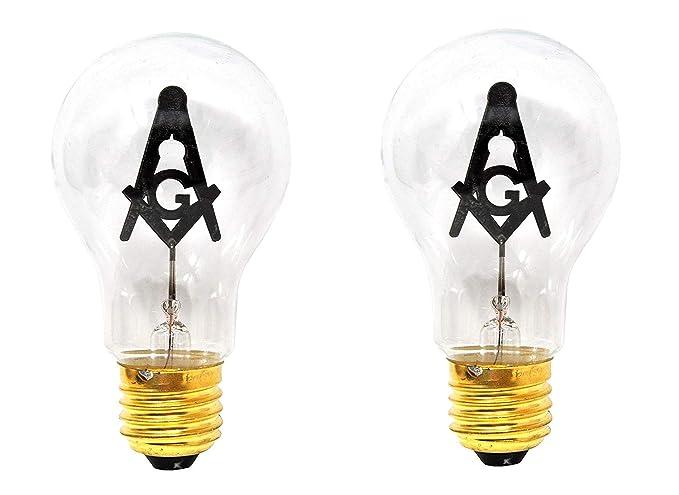 Mandala Crafts E27 3W Freemason Masonic Square and Compasses Emblem Symbol  Altar Decor Lodge Light Bulb (Standard Base, 2 Bulbs)