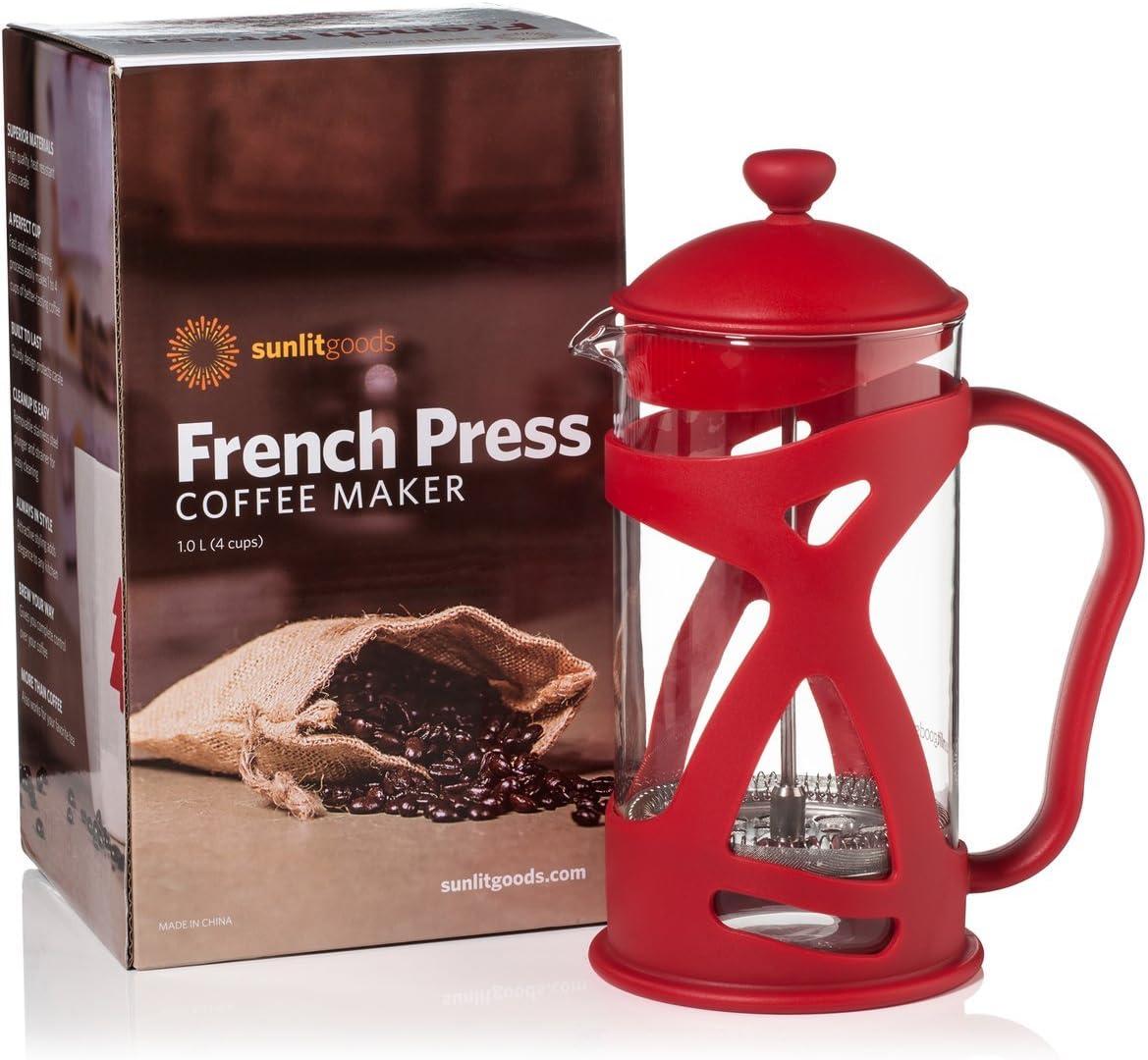 French Press Coffee Loose Leaf Tea Maker, Red 8 Cup, 34 oz, 4 Mug , Heat-Resistant Glass, Bonus Filter, Spoon