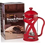 French Press Coffee & Loose Leaf Tea Maker, Red (8 Cup, 34 oz), Heat-Resistant Glass, Bonus Filter, Spoon