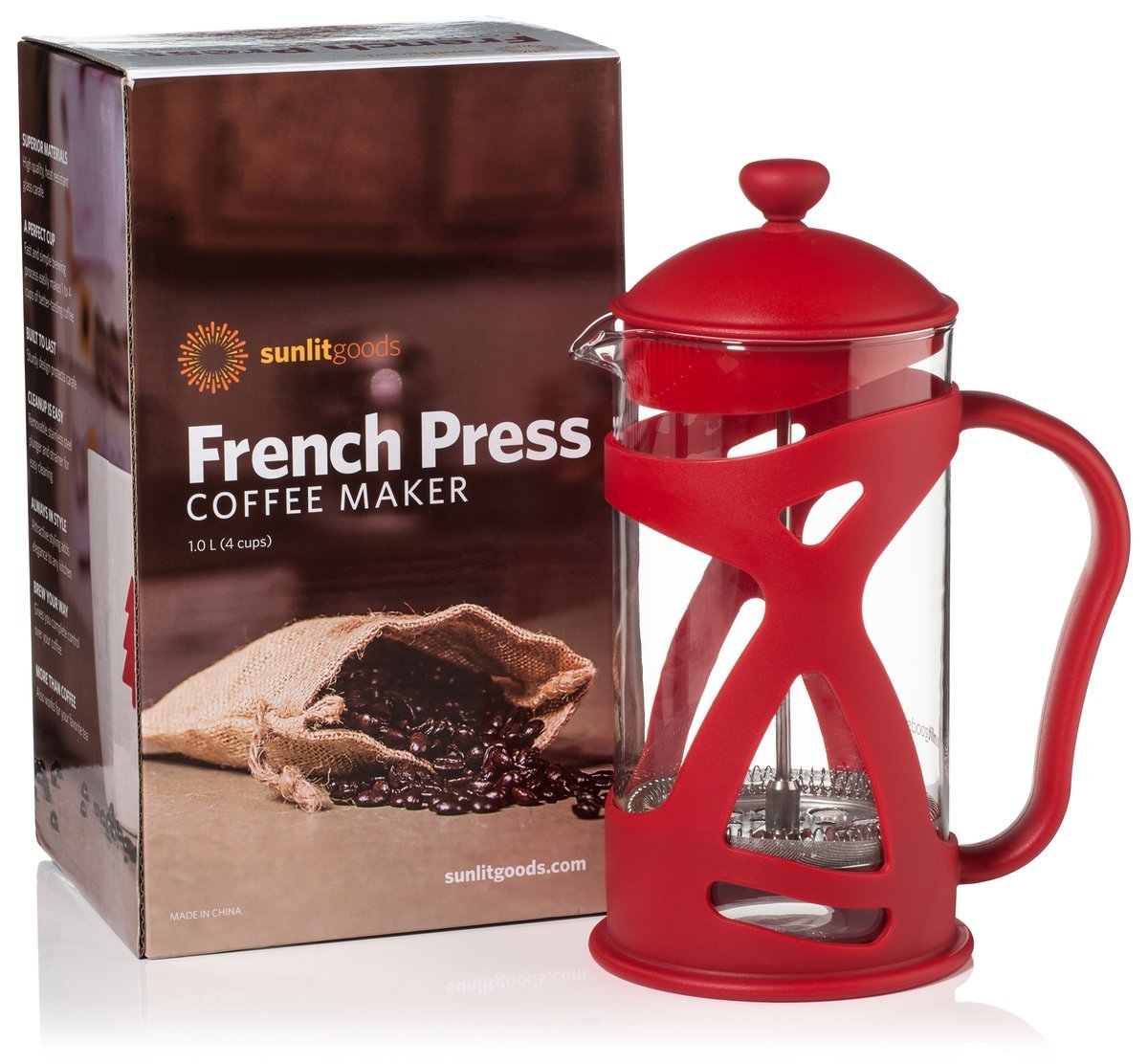 French Press Coffee & Loose Leaf Tea Maker, Red (8 Cup, 34 oz, 4 Mug), Heat-Resistant Glass, Bonus Filter, Spoon by Sunlit