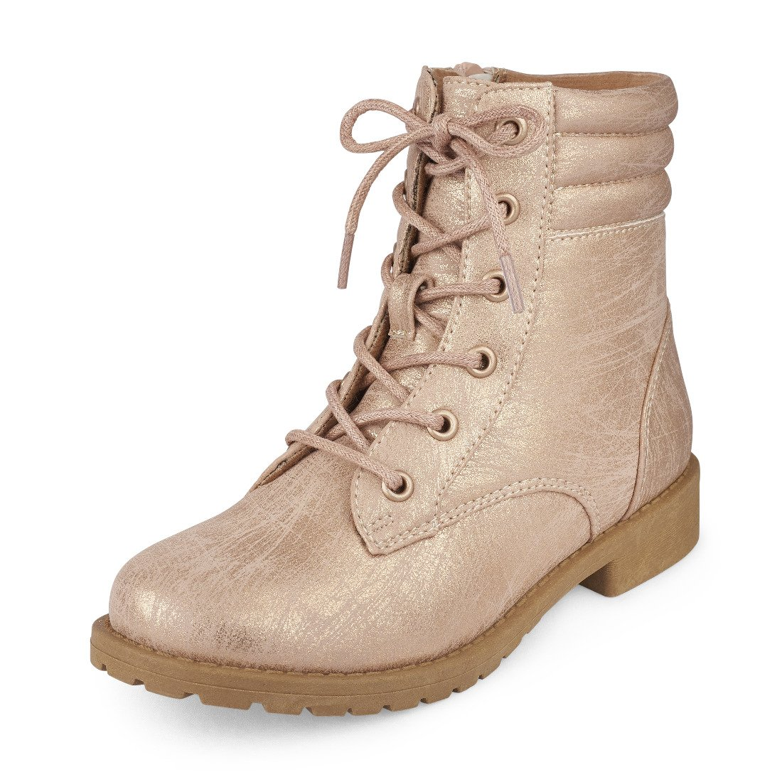 The Children's Place Girls' Combat Fashion Boot, Rose Gold-Boot-8, Youth 13 M US Little Kid