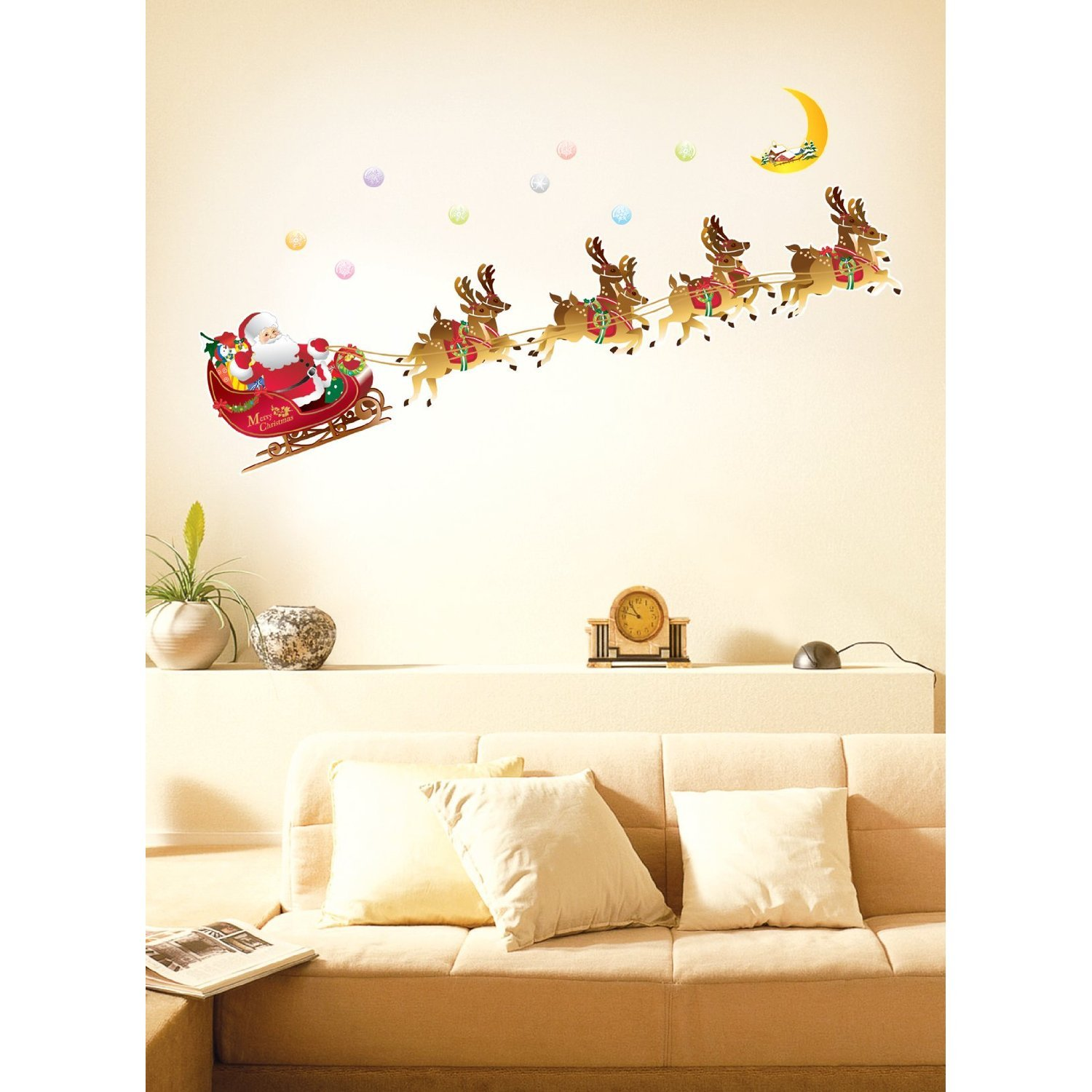 Easy instant decoration wall sticker decal santa and reindeer easy instant decoration wall sticker decal santa and reindeer sleigh christmas wall decals amazon amipublicfo Gallery