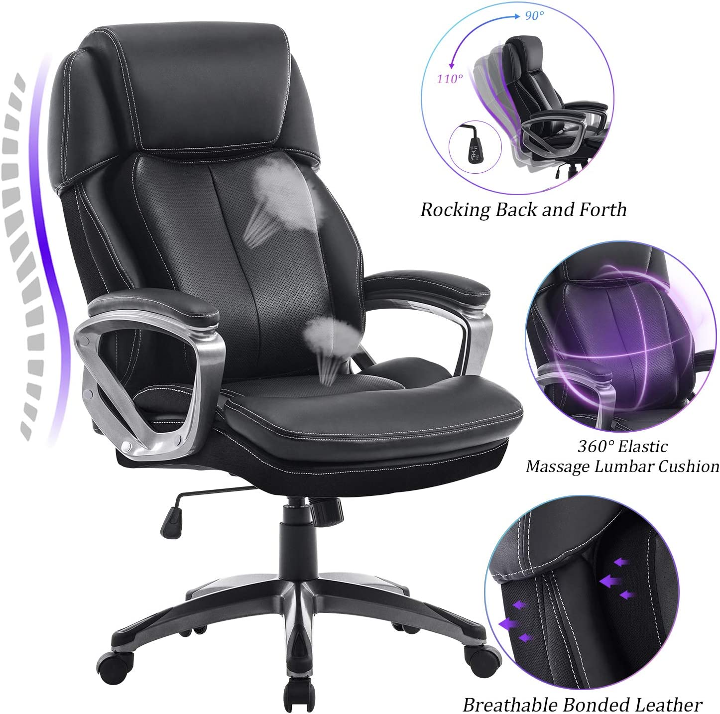 Black REFICCER Multifunctional Office Chair 360/°Movable Lumbar Support and Adjustable Tilt Angle High Back Bonded Leather Ergonomic Executive Computer Desk Chair Swivel Task Chair