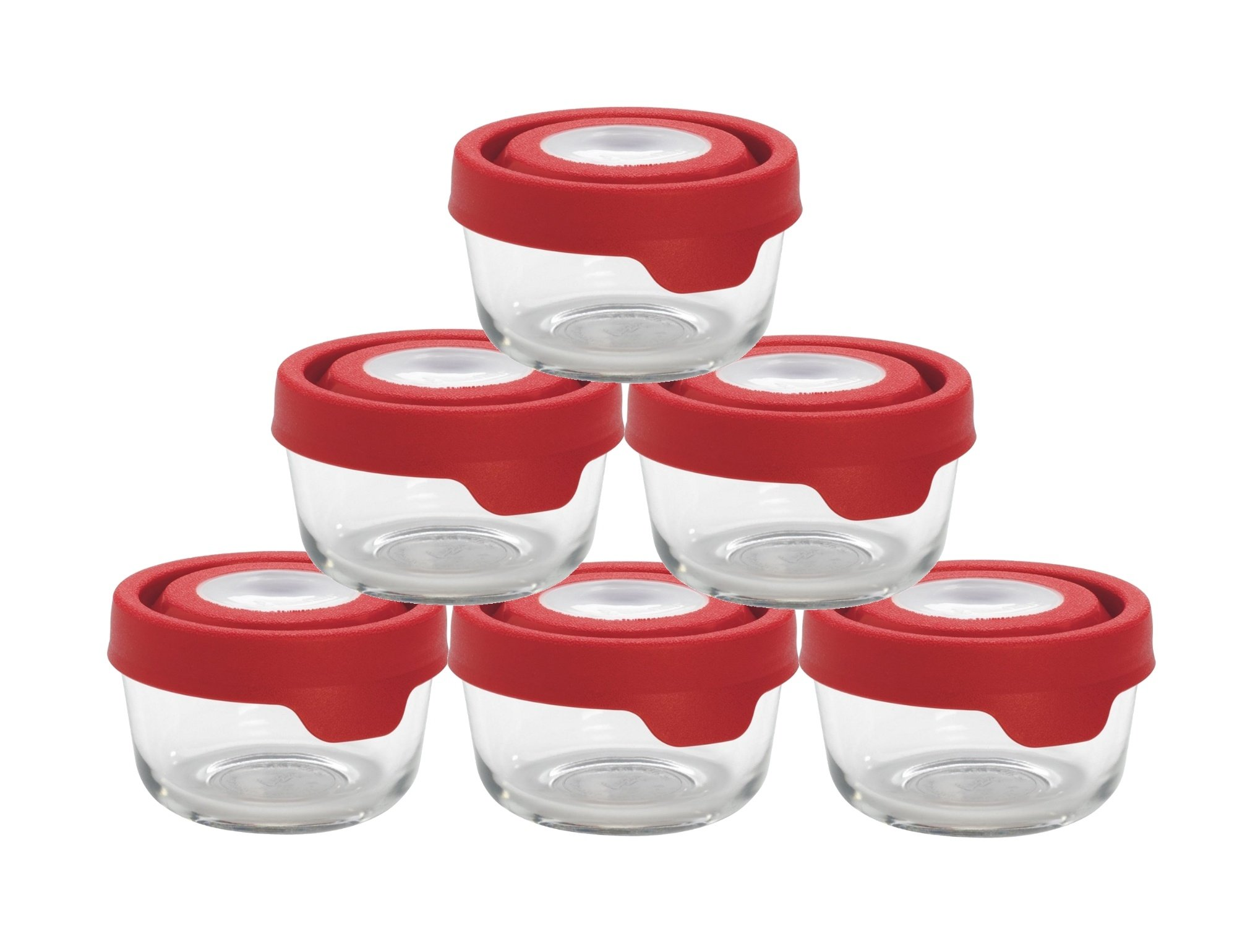 Anchor Hocking TrueSeal Glass Food Storage Containers with Lid, Cherry, 1 Cup (6 Pack)
