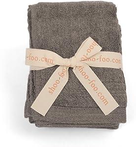 SHOO-FOO Organic Bamboo Charcoal Towels Sets |100% Bamboo | 600 GSM | Ultra Soft | Absorbent | Odor Resistant (4 Washcloths Set)