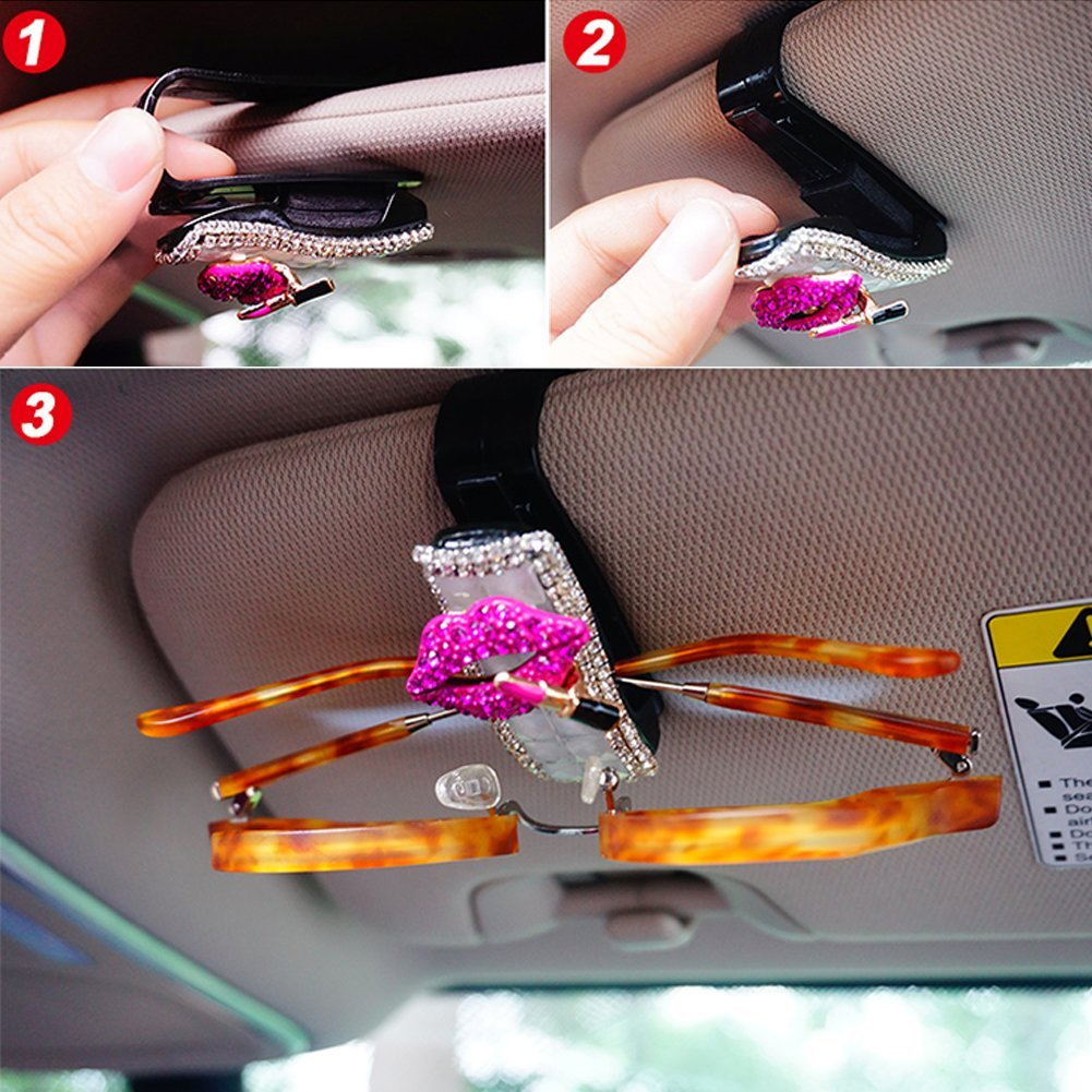 5559022454 Lzttyee Bling Rhinestones Red Lip Car Sun Visor Sunglasses Clip Universal Eyeglasses Holder Auto Interior Accessories Decor Purple