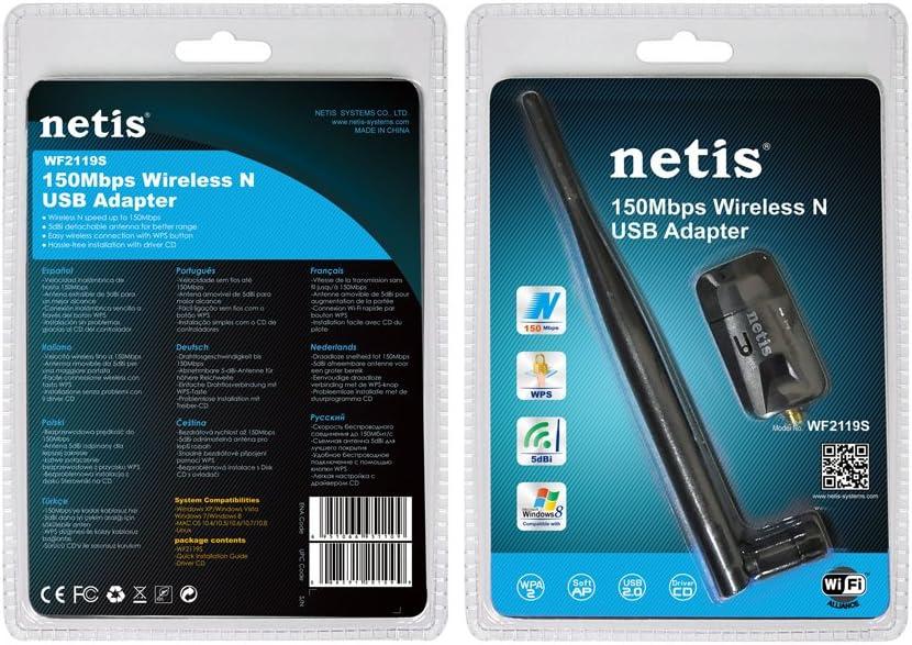 Netis WF2119S Wireless N150 Long-Range USB Adapter Mac OS Supports Windows Slim Body Linux 5dBi High Gain Antennas