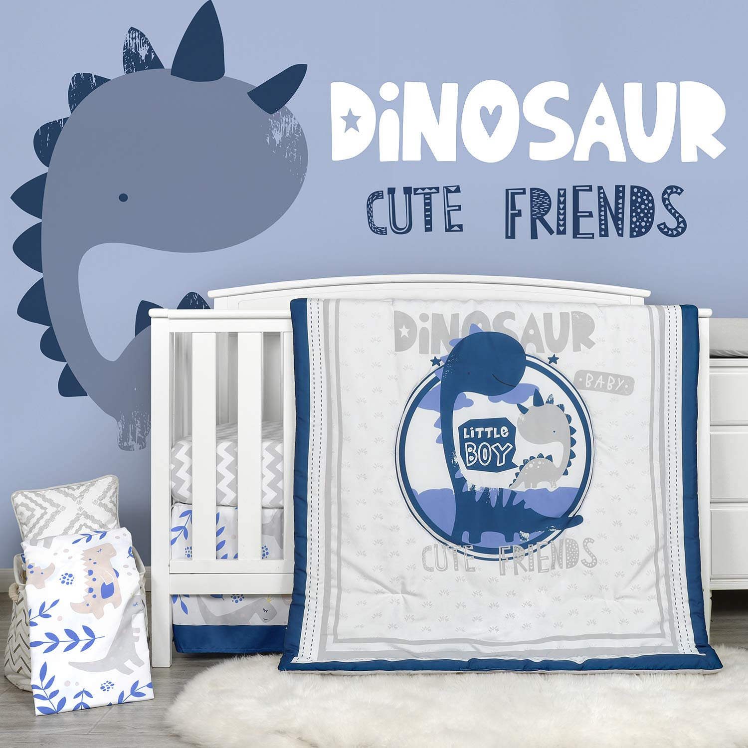 TILLYOU Luxury 4 Pieces Dinosaur Crib Bedding Set (Embroidered Comforter, Crib Sheets, Crib Skirt) - Microfiber Printed Nursery Bedding Set for Boys Girls