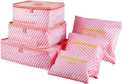 EASEHOME 6 Pcs Organisateur Valise Sacs de Rangement Nylon Organiseurs de Bagage pour V/êtements Cosm/étiques Chaussures 3 Cubes 3 Pochettes Blanc Pink Organisateurs de Voyage Imperm/éables
