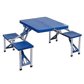 Ancheer Set de Mesa y Sillas para Picnic Mesa con 4 Asientos Plegable para Camping Portátil en Maleta para Exteriores Jardín Acampada Color Azul