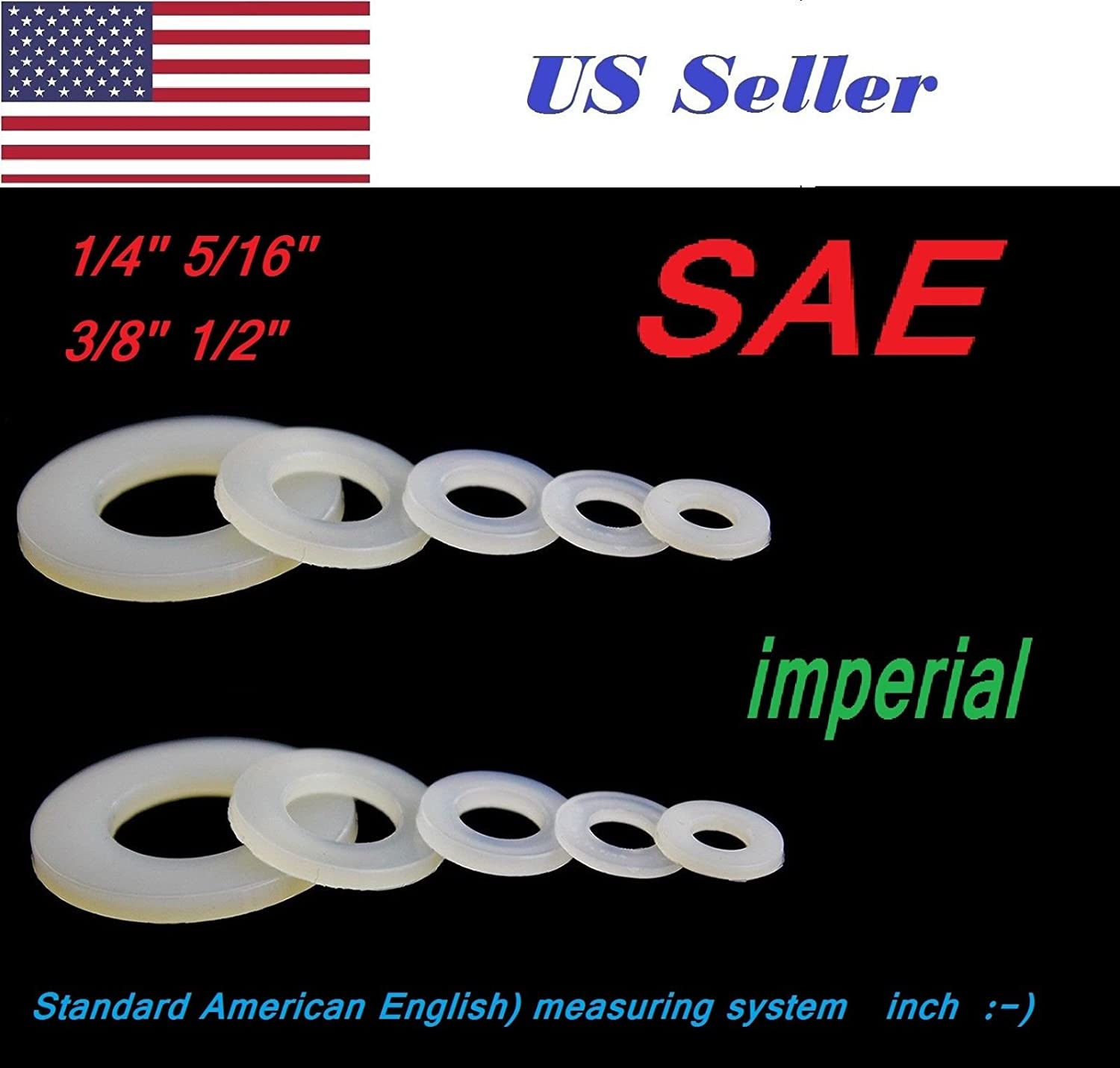 Plain Finish SAE Imperial Inch White Plastic Nylon Flat Washer Spacer Off-White #21W 1//2 OD X 0.257 ID X 0.032 Thickness Pack of 100