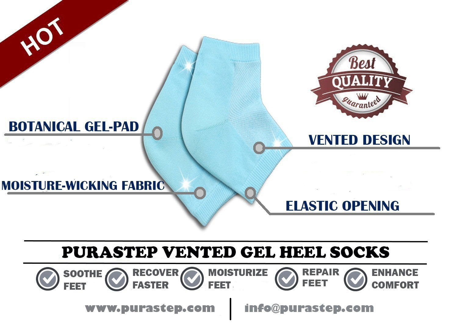 Purastep unisex silicone gel heel socks with spa botanical gelpad purastep unisex silicone gel heel socks with spa botanical gelpad free size blue 1 pair amazon health personal care fandeluxe Images