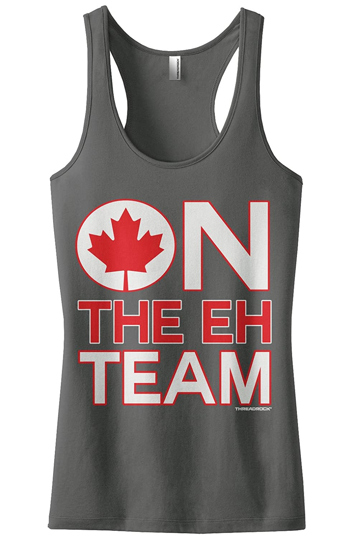 9973592670f9c4 Amazon.com  Threadrock Women s On The Eh Team Racerback Tank Top  Clothing