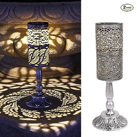 2 piezas de luces solares retro candelabro Lámpara de mesa ...