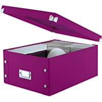 """Snap-N-Store Double Wide CD Storage Box, 6.125"""" x 10.5"""" x 14"""", Berry (SNS03316)"""