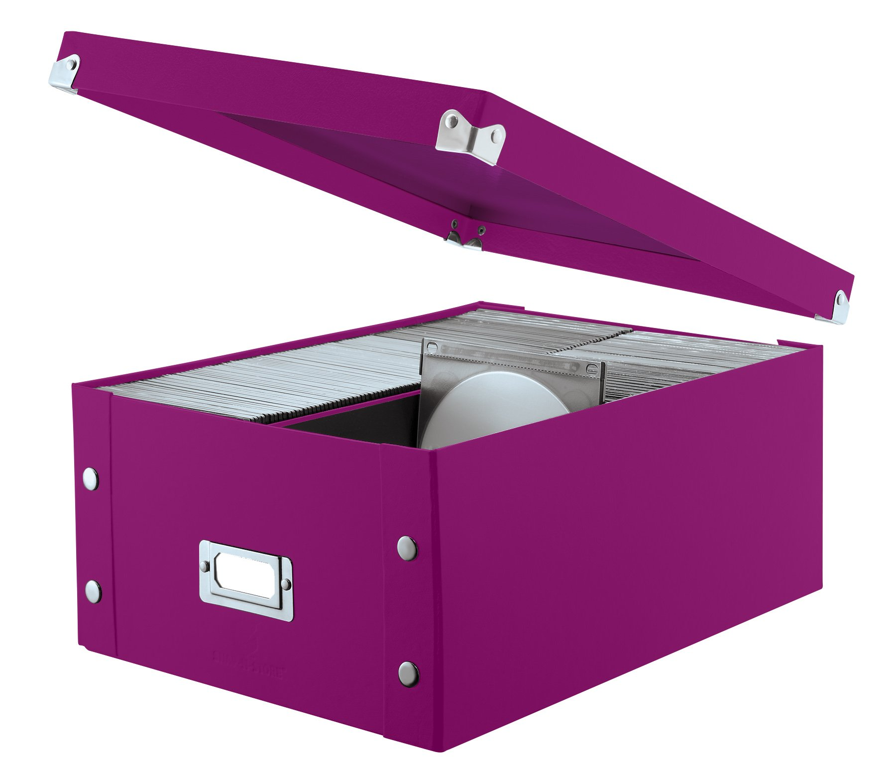 Snap-N-Store Double Wide CD Storage Box, 6.125'' x 10.5'' x 14'', Berry (SNS03316)
