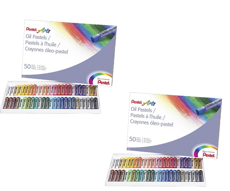 2 PACK SET - Pentel Arts Oil Pastels, 50 Color Set (PHN-50) 2 Sets!! by Pentel