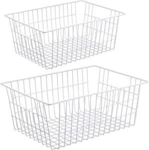 iPEGTOP Wire Storage Baskets, Large Farmhouse Metal Wire Basket Freezer Storage Organizer Bins with Handles for Kitchen Cabinets, Pantry, Closets, Bedrooms, Bathrooms, 2 Pack