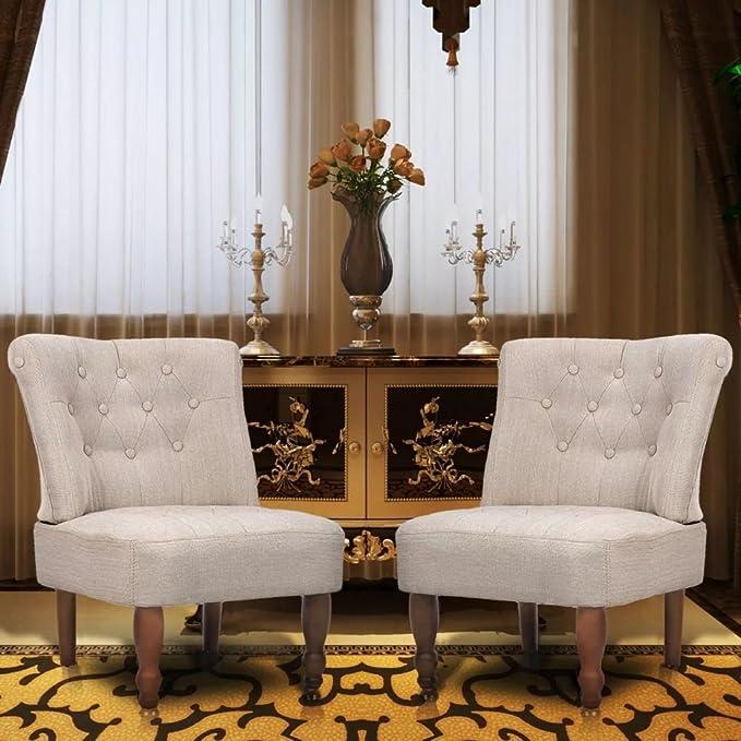 Festnight Set 2 Poltrone per Soggiorno e Salotto alla Francese Chesterfield Design Classiche in Tessuto Crema,Sedie da Salotto e Soggiorno Chesterfield Design Tessuto,Poltrocine da Salotto