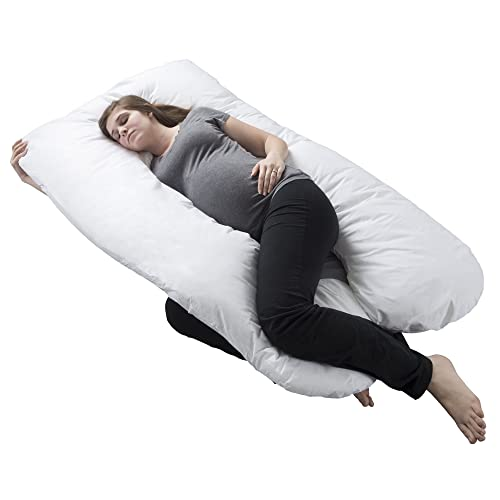 Pregnancy Pillow, Full Body Maternity Pillow with Contoured U-Shape by Bluestone, Back Support - best pregnancy body pillow