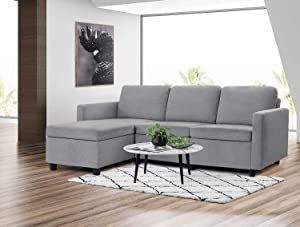 Pawnova Convertible Sectional, L-Shaped Couch Soft Seat and Modern Linen Fabric for Small Space, Living Room Sofa with Comfortable Backrest, Gray