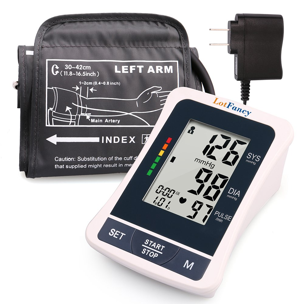 Upper Arm Blood Pressure Monitor, Fully Automatic Blood Pressure Machine with Large Cuff (11.8''-16.5''), Digital Sphygmomanometer, Alarm Clock Function