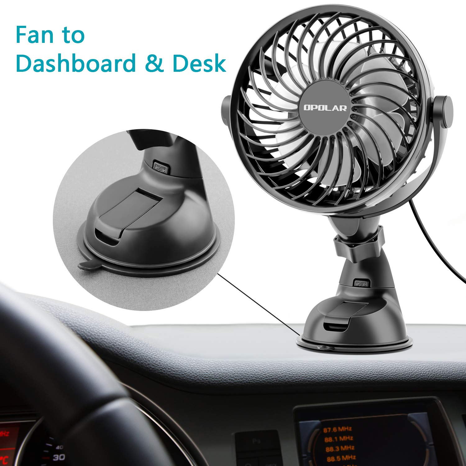 Ideal for Sedan SUV RV Boat Auto Vehicles OPOLAR Mini Car /& Desk Fan with Strong Suction Cup High Airflow Four Speeds NO Battery Firmly Attached to Dashboard /& Windshield Powered Only by USB
