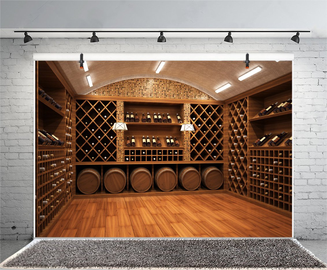 Laeacco French Wine Cellar Backdorps 10x6.5ft Vinyl Photography Background Wooden Board Storage Champane Red Wine Celebration Party Business Man Adults Photo Protrais Artistic Studio Props