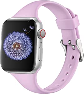DGege Slim Watch Bands Compatible with Apple Watch 38mm 40mm, Silicone Thinner Bands for iwatch Series 6, 5,4,3,2,1 SE, Lavender, S/M