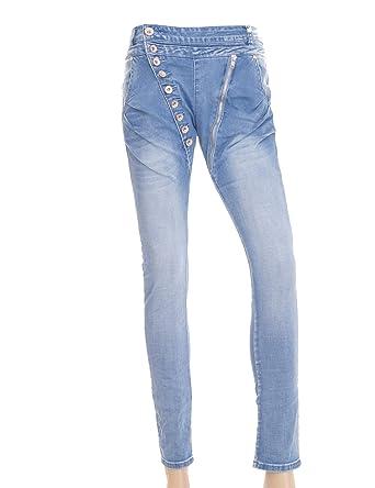 Mozzaar Mujer Jeans con Botones y Cremallera Denim Boyfriend ...