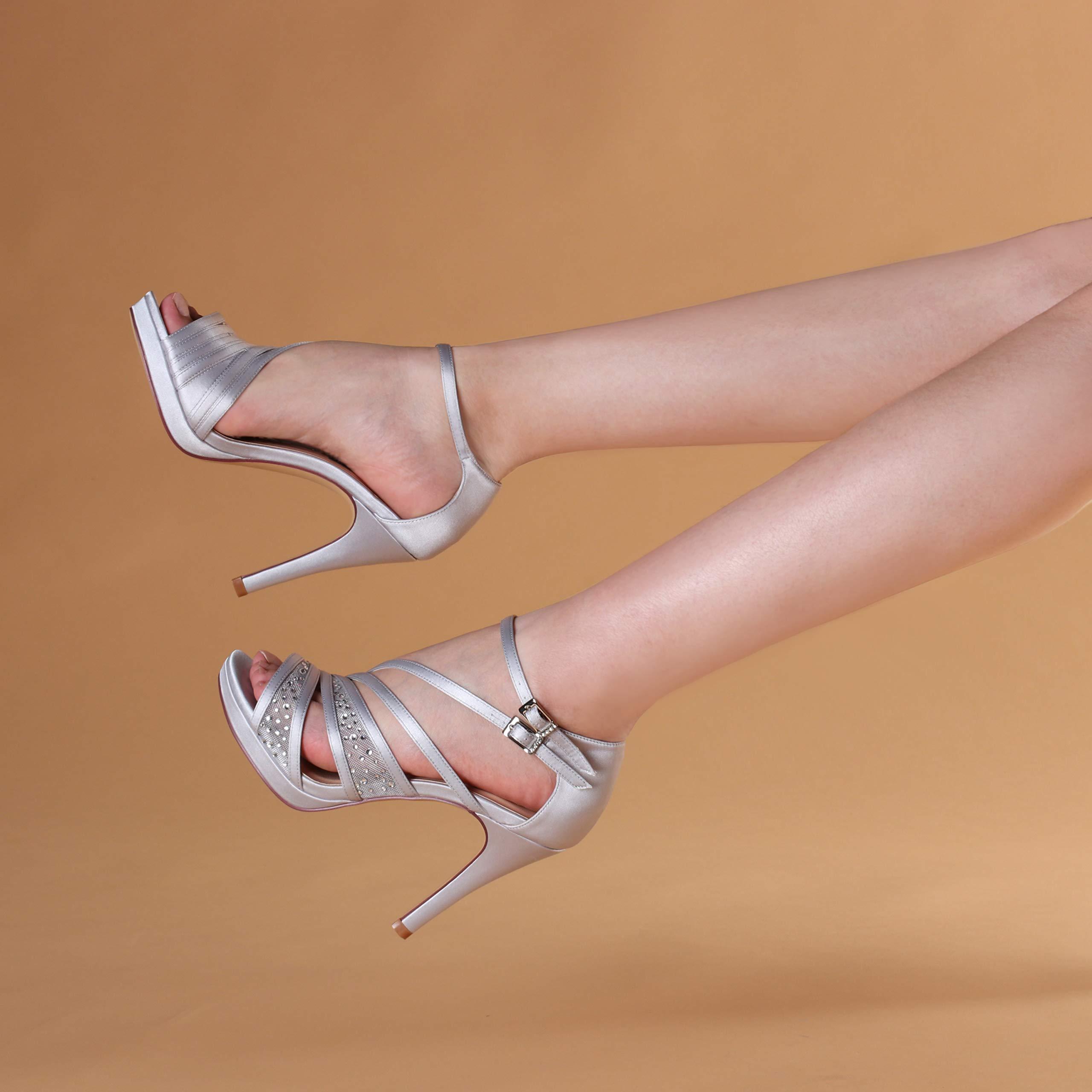 7f374bb4888cf ERIJUNOR E2333A Women Comfortable Platform Rhinestones Lace Mesh Satin Prom  Wedding Shoes Sandals Dance for Brides Bridesmaid Silver Size 5