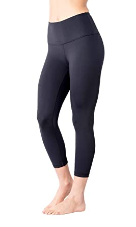 20a5eed8cbca6 Yogalicious High Waist Ultra Soft Lightweight Capris - High Rise Yoga Pants  - Classic Black -