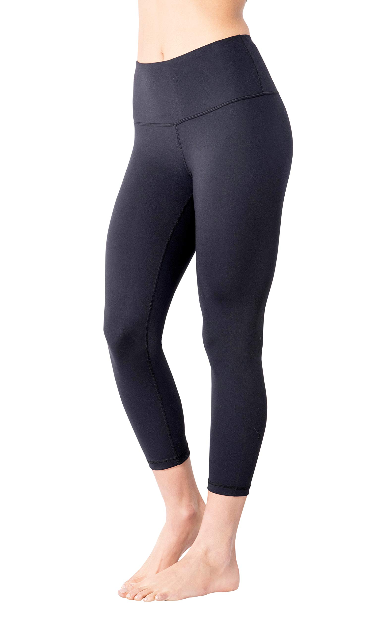 Yogalicious High Waist Ultra Soft Lightweight Capris - High Rise Yoga Pants - Classic Black - XS