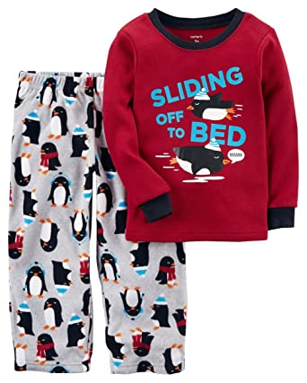 f9698772784c Amazon.com  Carter s Boys  12M-14 2 Piece Sliding Penguin Fleece ...