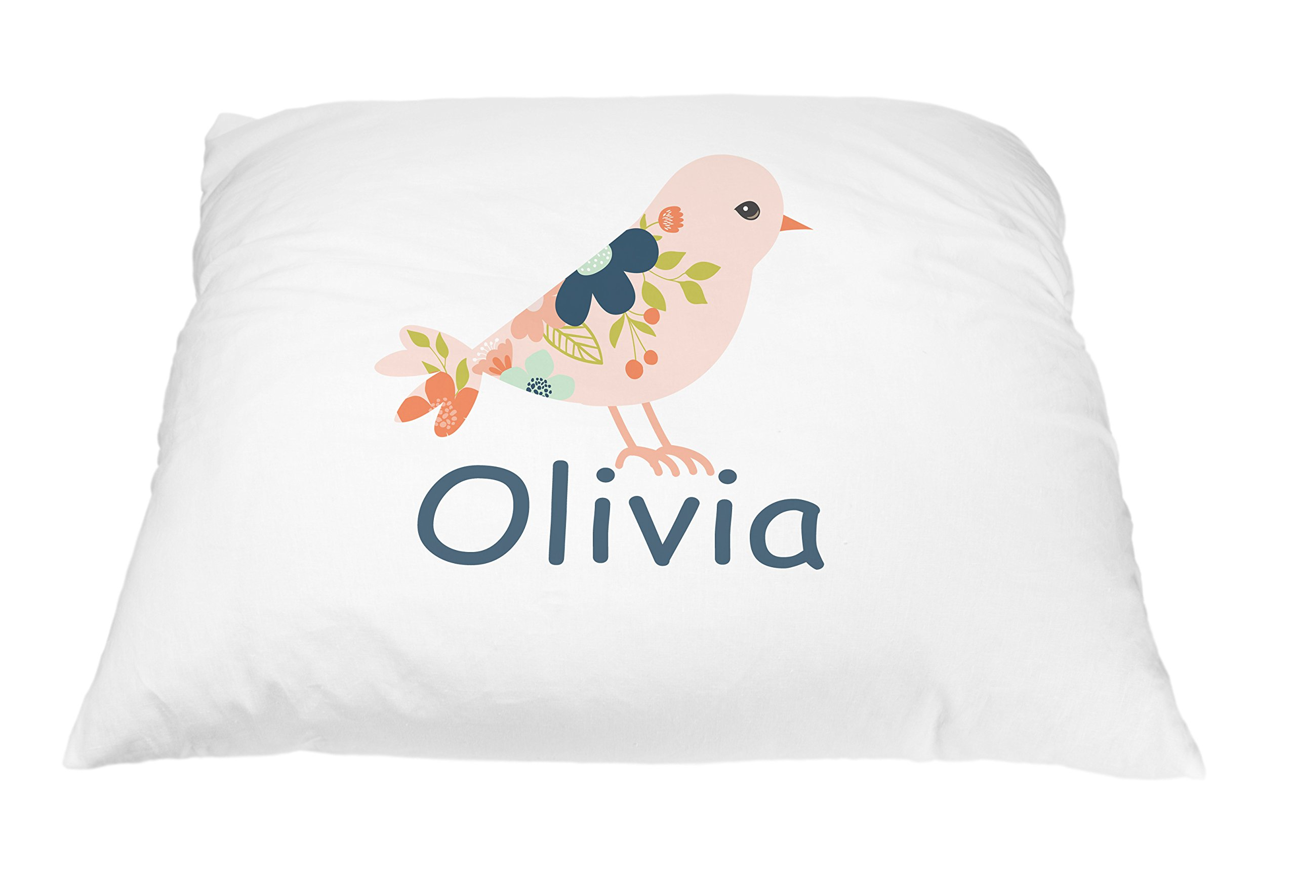 Personalized Kid's Coral Bird Pillowcase Microfiber Polyester 20 by 30 Inches, Bird Pillow Cover, Customized Gifts For Kids, Nature Pillow, Bird Gift for Nature Lovers, Gift for Bird Lovers