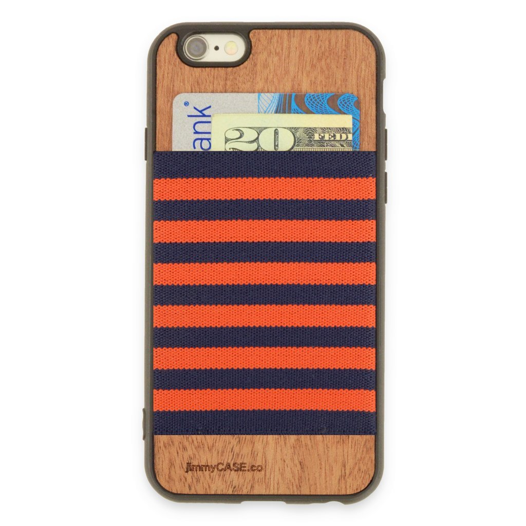 jimmyCASE iPhone 6/6S Ultra Slim Protective Credit Card Wallet Case, Orange and Navy Blue Stripe