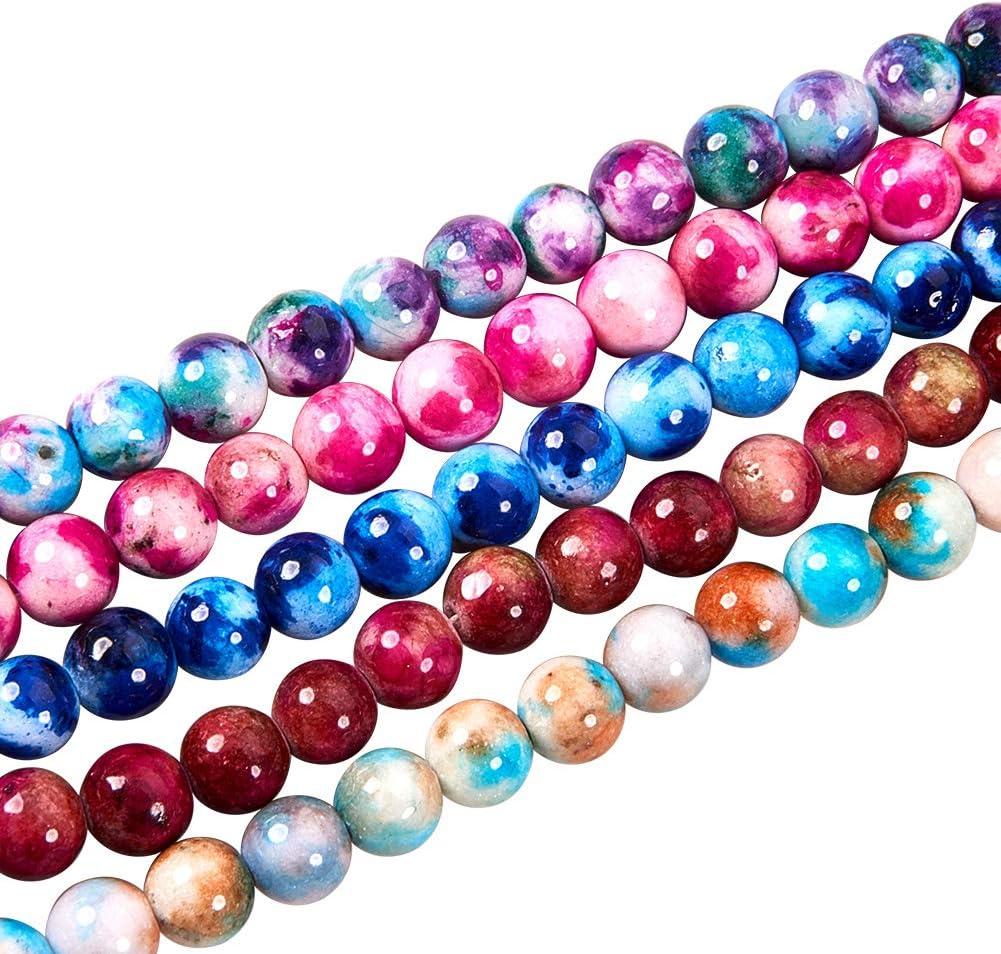 NBEADS 5 hebras de Cuentas, 250 Piezas (50 Piezas/Hilo) 8 mm de Cuentas de Piedra de Jade Blanca Natural Cuentas Redondas Joyas de Colores para Pulsera Collar DIY Fabricación