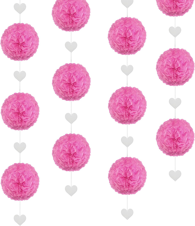 EinsSein 1x Pompons en Papier 3X guirlandes Pendentif c/œur 25cm Rose Boule Papier Boules de Rose Banderole Pompoms Pom poms Porte clefs Decoration Fleurs Anniversaire Table Plan eventail /éventail en