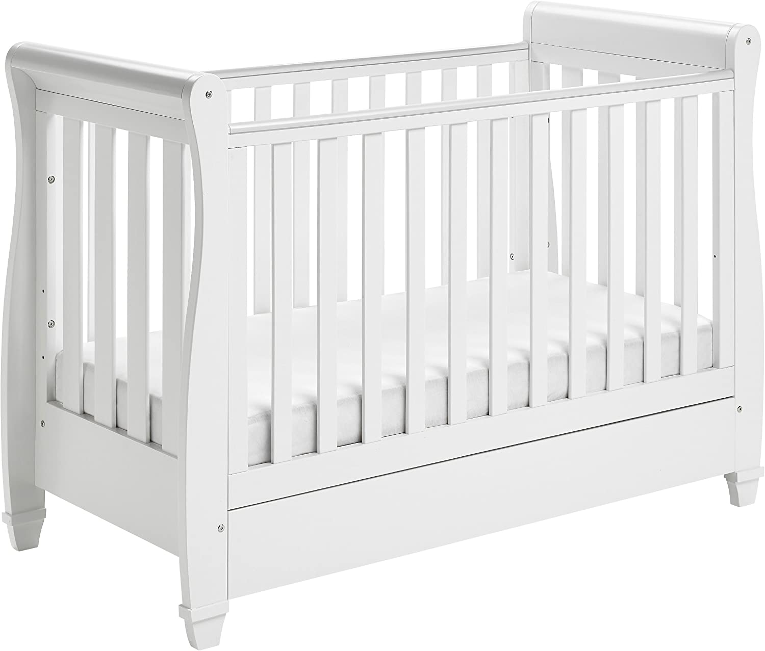 - Babymore Eva Sleigh Cot Bed Dropside With Drawer (White) Mattress