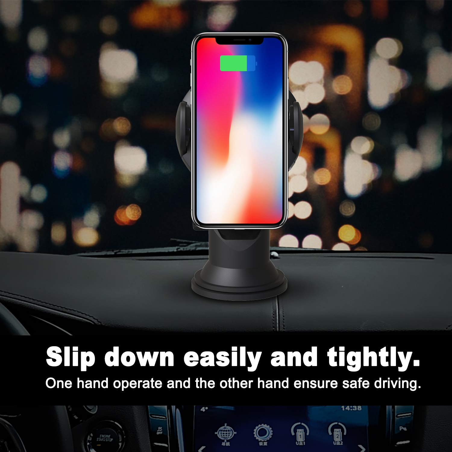 Wireless Charging Car Holder Auto Clamping Dashboard Phone Mount for Windshield Compatible with iPhone//Samsung Galaxy//HTC//Sony//Android Phone 360/° Rotation Cherrytech