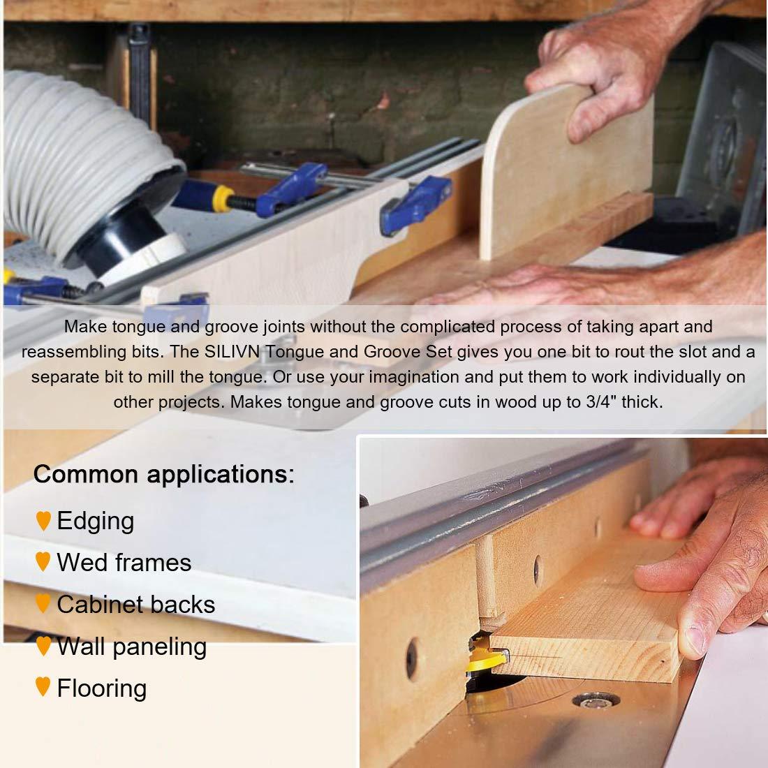 Silivn Tongue And Groove Set Router Bit Set Wood Door Flooring 3