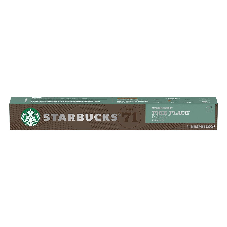 STARBUCKS PIKE PLACE Roast de NESPRESSO Cápsulas de café de tostado medio, 8 x tubo de 10 unidades
